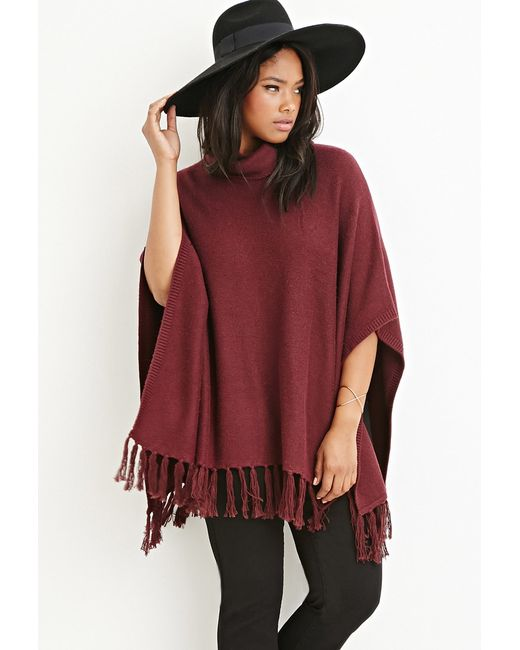 Forever 21 | Purple Plus Size Tasseled Funnel Neck Poncho | Lyst