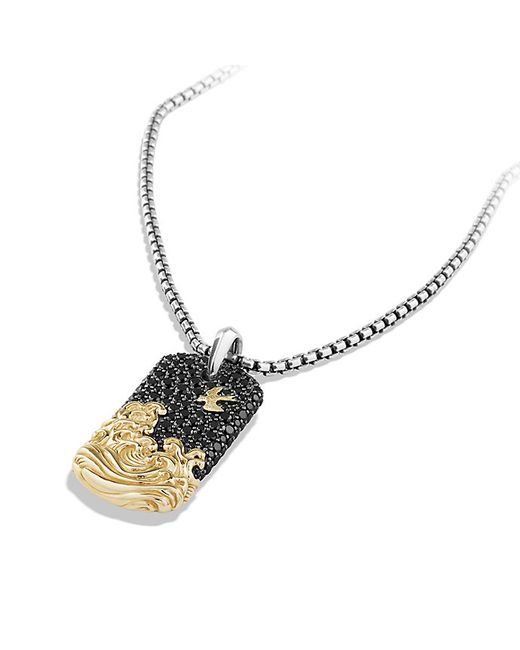 David Yurman   Metallic Waves Pave Tag With Black Diamonds And 18k Gold for Men   Lyst