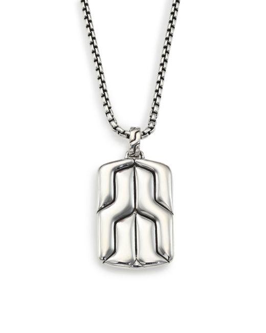 John Hardy | Metallic Classic Chain Large Dog Tag Pendant | Lyst