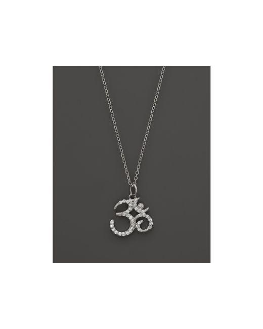 "KC Designs   Diamond Om Pendant Necklace In 14k White Gold, 16""   Lyst"