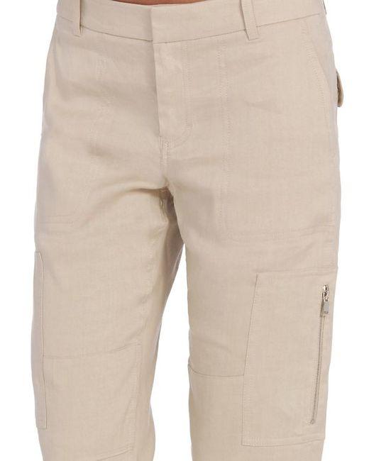 Brilliant Details About WORN Women39s Linen Cropped Khaki Cargo Pants Sz 6 14