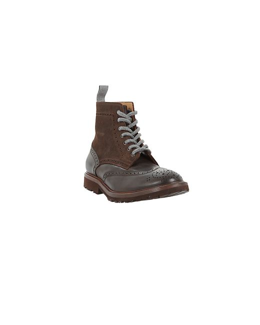 brunello cucinelli brown leather and suede brogue boots in