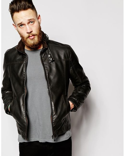 barneys originals leather jacket biker mens