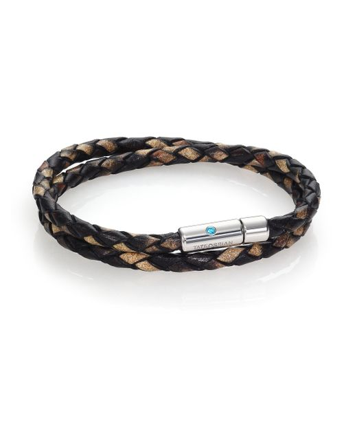 Tateossian | Brown Paraiba Topaz, Printed Leather & Sterling Silver Double-wrap Braided Bracelet for Men | Lyst