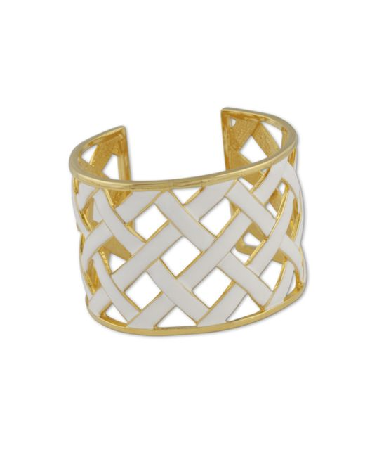 Kenneth Jay Lane | Metallic White Basketweave Cuff | Lyst