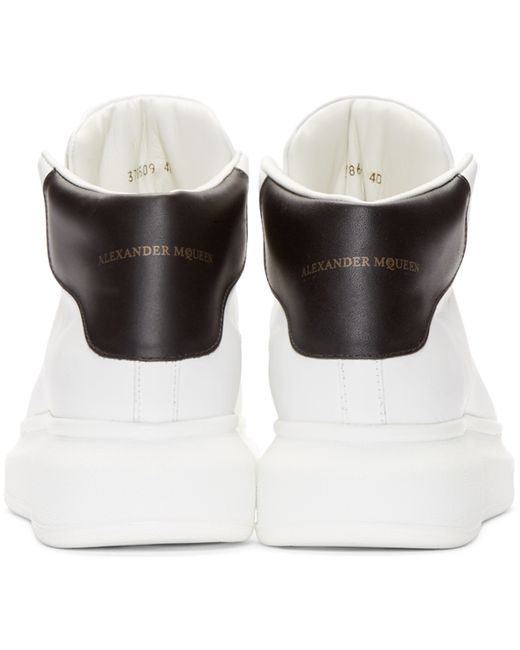 Alexander McQueen | White Ivory & Black Leather High-top Sneakers for Men | Lyst