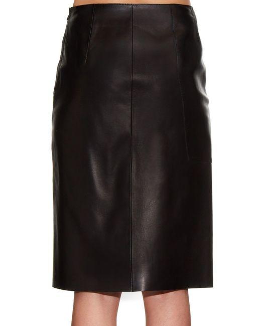 mcqueen ruffled detail leather skirt in black