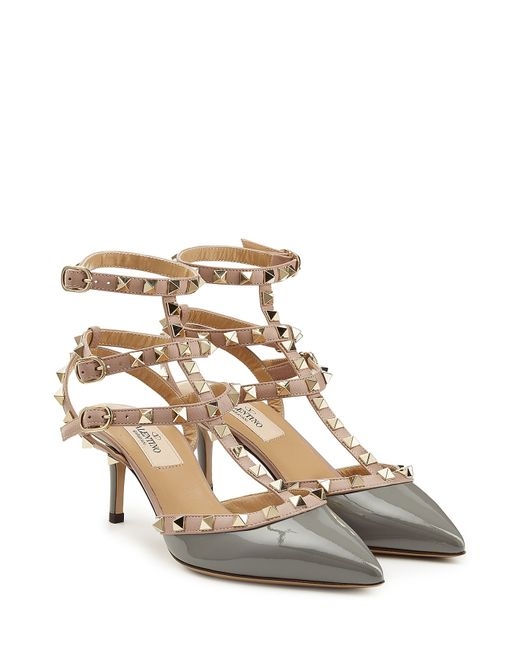 valentino rockstud leather kitten heel pumps grey in gray lyst. Black Bedroom Furniture Sets. Home Design Ideas