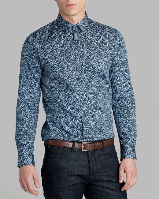 Ted Baker | Blue Short Sleeve Shirt With Paisley Print In Slim Fit for Men | Lyst