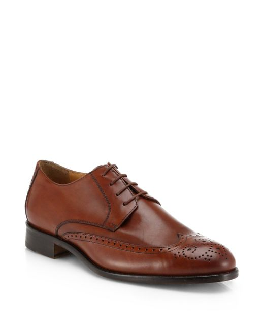 Saks Fifth Avenue | Brown Leather Lace-up Wing-tips for Men | Lyst