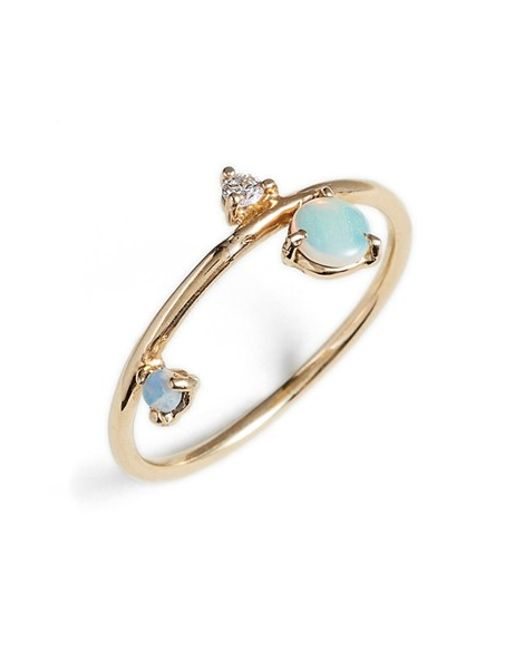 Wwake | Blue Counting Collection - Three-step Balloon Opal & Diamond Ring | Lyst
