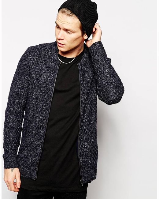 Knitting Pattern Bomber Jacket : Asos Knitted Bomber Jacket in Blue for Men (Denim) - Save 37% Lyst