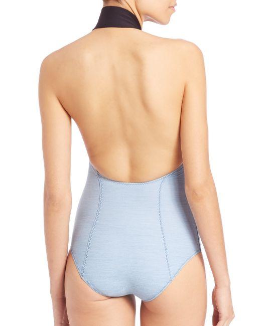 lisa marie fernandez one piece denim maillot in blue faded denim lyst. Black Bedroom Furniture Sets. Home Design Ideas