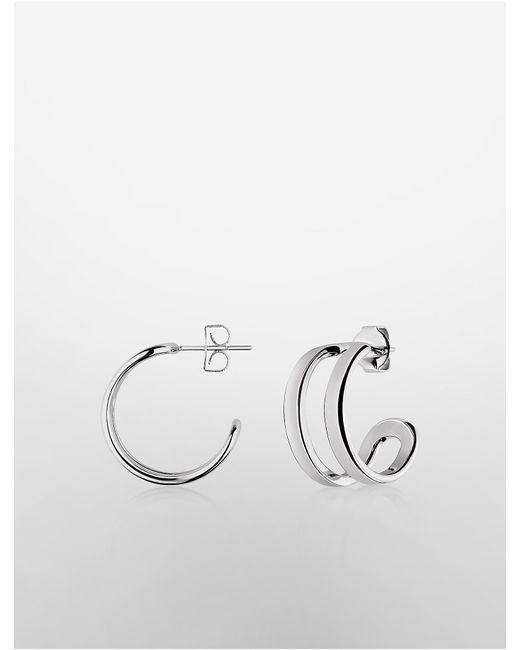 Calvin Klein | Metallic Platinum Return Earrings | Lyst