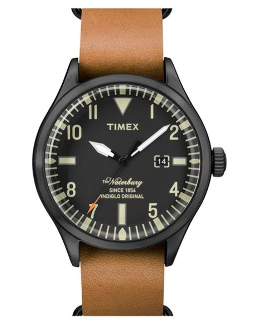 Timex | Brown Timex 'waterbury' Leather Strap Watch for Men | Lyst