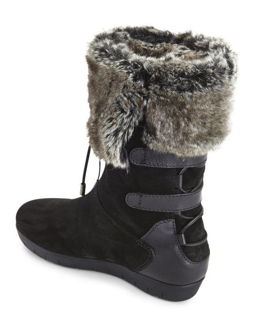 aquatalia black weslyn faux fur snow boots in black lyst