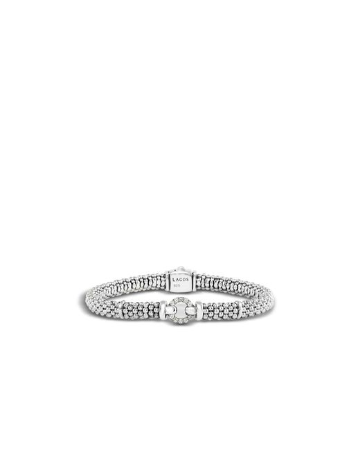 Lagos | Metallic Enso Sterling Silver Caviar Bracelet With Diamonds | Lyst