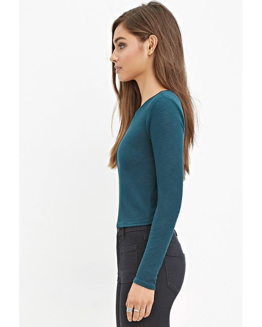 Forever 21 | Green Ribbed Knit Crop Top | Lyst