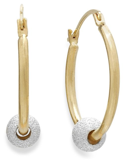 Macy's | Metallic Beaded Hoop Earrings In 10k Gold And Sterling Silver | Lyst