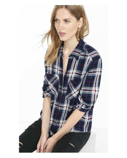 Express Blue Plaid Oversized Shirt In Black Blue Save