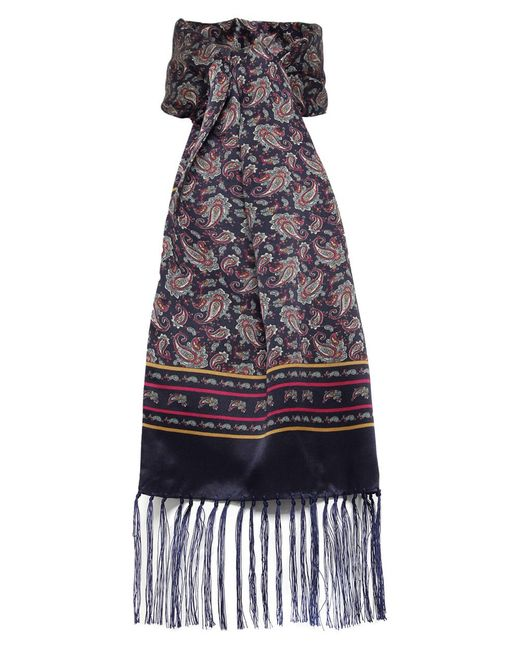 tootal silk paisley scarf in multicolor navy lyst