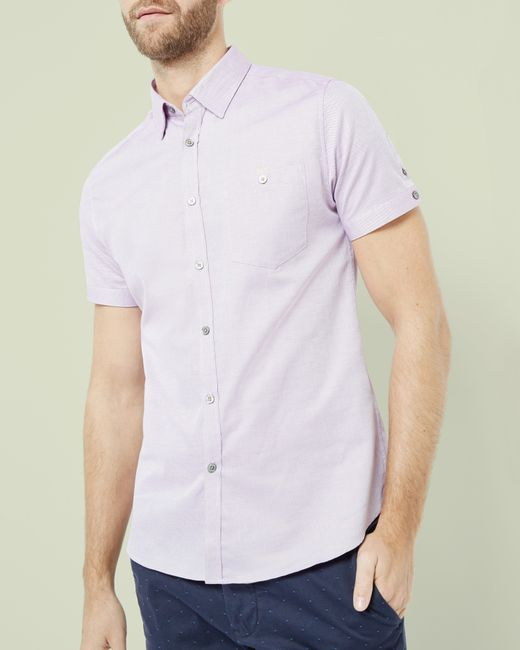 Ted baker cotton oxford shirt in pink for men lyst for Pink oxford shirt men