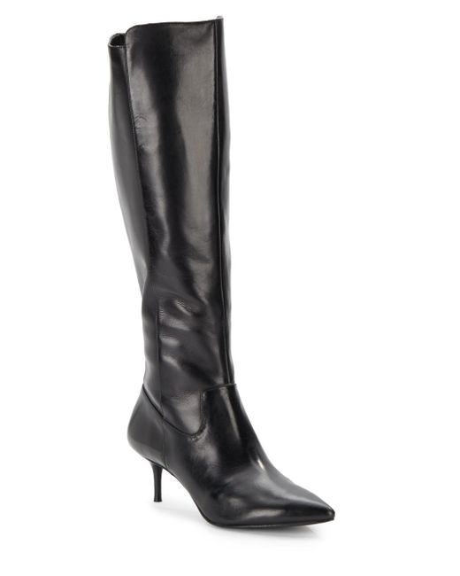 enzo angiolini knee high leather side zip boots in black