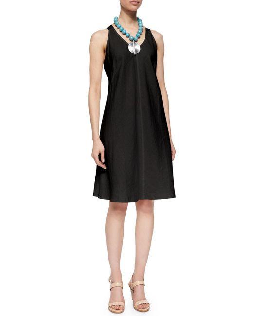 Eileen Fisher   Black Sleeveless Linen Bias Dress   Lyst