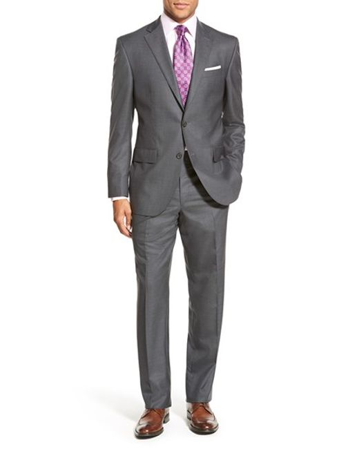 David Donahue | Gray 'ryan' Classic Fit Solid Wool Suit for Men | Lyst