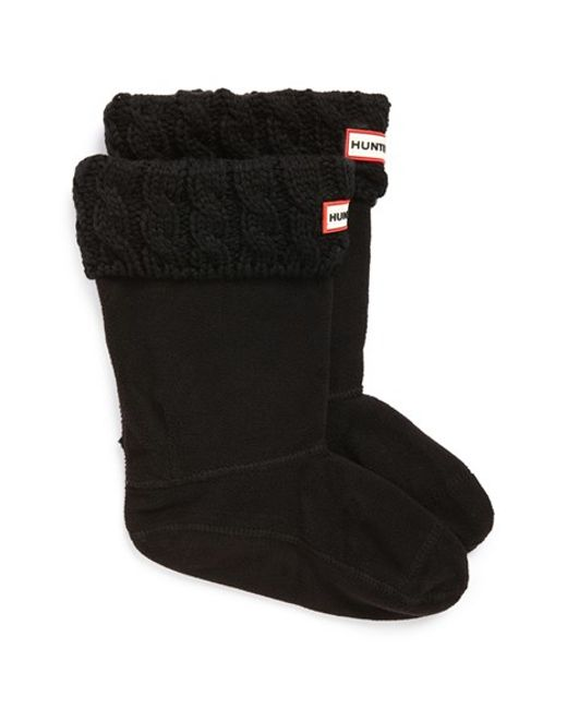 Hunter | Black Cable Knit Cuff Welly Boot Socks | Lyst