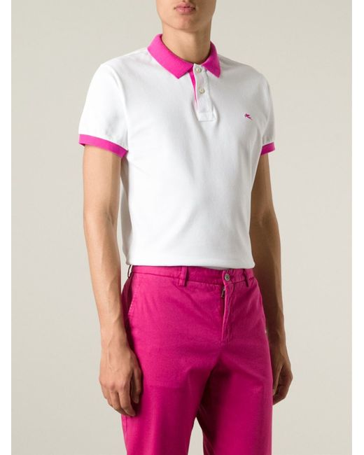 Etro contrasting collar and cuffs polo shirt in white for for Mens dress shirts with contrasting collars and cuffs