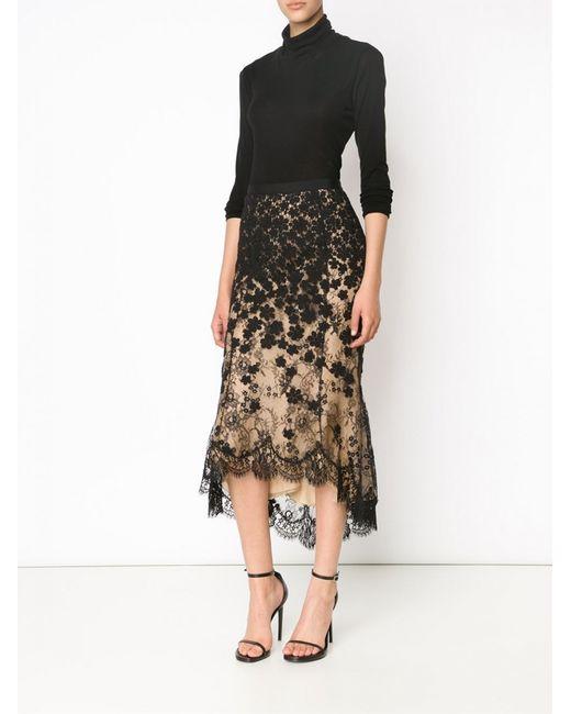 oscar de la renta high low lace skirt in black lyst