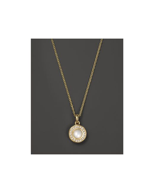 Ippolita | Metallic 18k Lollipop Mini Pendant Necklace In Mother-of-pearl With Diamonds, 16–18"
