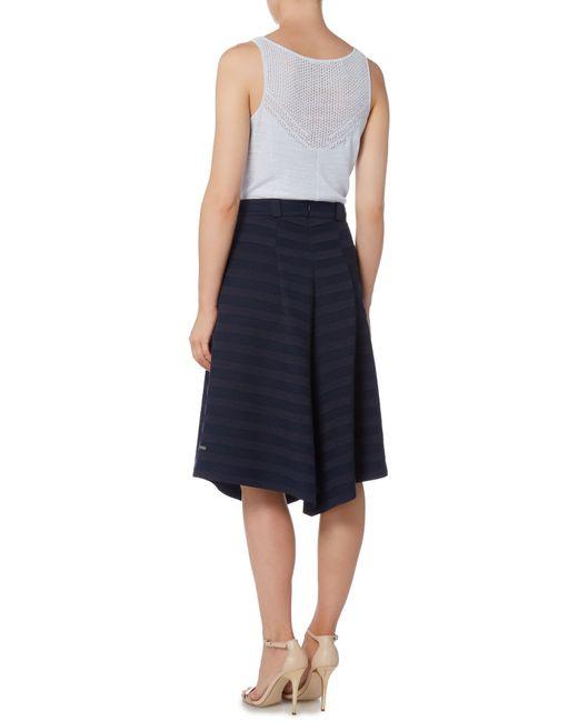 pleated stripe midi skirt in blue blue lyst