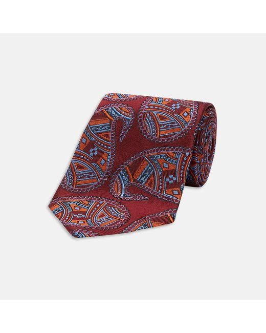 Turnbull & Asser Cut-up Paisley Burgundy And Blue Silk Tie