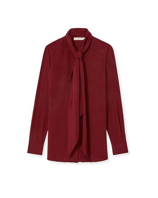 Tory Burch | Red Stretch Silk Tie Blouse | Lyst