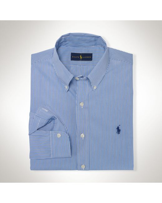 Polo Ralph Lauren | Blue Striped Cotton Poplin Shirt for Men | Lyst