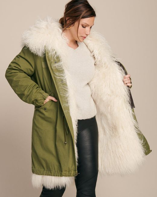 Mr Mrs Italy Parka With Mongolian Fur Lining In Green Lyst