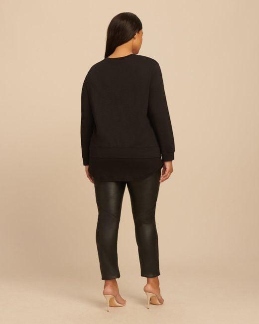 093770d1 ... Monrow - Black Sweatshirt With Rib Baseball Hem - Lyst ...