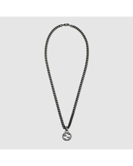 Gucci | Metallic Silver Necklace With Interlocking G for Men | Lyst