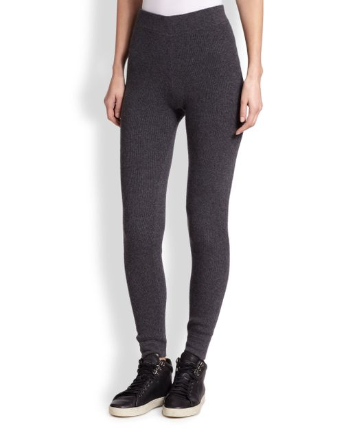 Saks Fifth Avenue | Gray Cashmere Ribbed Leggings | Lyst