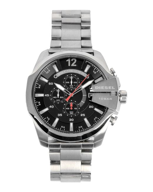 Diesel stainless steel mega chief luminescent chronograph watch in metallic for men lyst for Luminescence watches