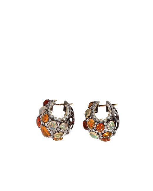 Arunashi | Multicolor Fire Opal And Pearl Hoop Earrings | Lyst