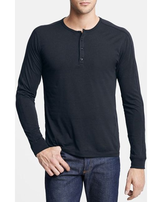 VINCE | Blue Long Sleeve Knit Henley for Men | Lyst