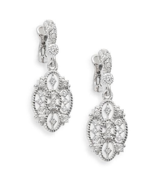 Judith Ripka   Metallic Castle White Sapphire & Sterling Silver Openwork Earrings   Lyst