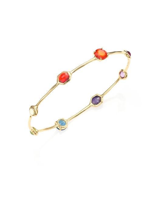 Ippolita | Multicolor Gelato Fall Rainbow Semi-precious Multi-stone & 18k Yellow Gold Eight-station Bangle Bracelet | Lyst