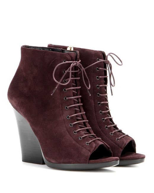burberry virginia suede ankle boots in purple save 51
