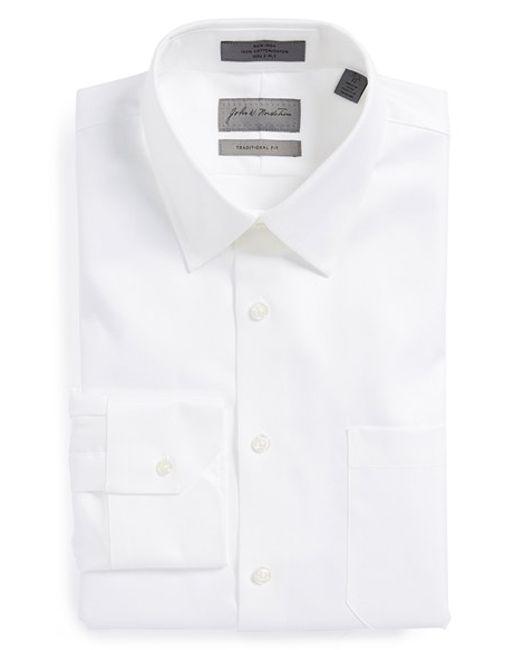 John W. Nordstrom | White John W. Nordstrom Traditional Fit Non-iron Houndstooth Dress Shirt for Men | Lyst