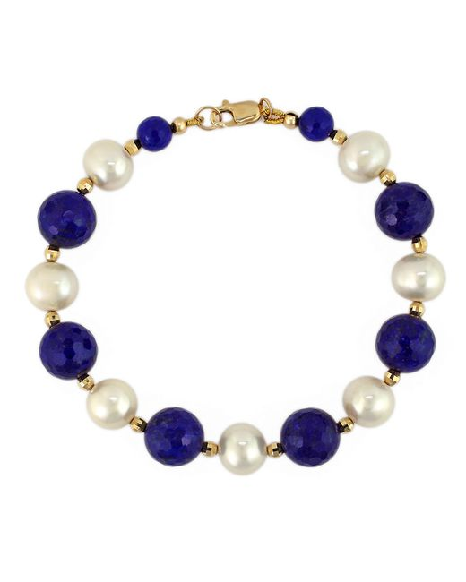 Effy | Green White Pearl, Lapis And 14k Yellow Gold Bracelet | Lyst
