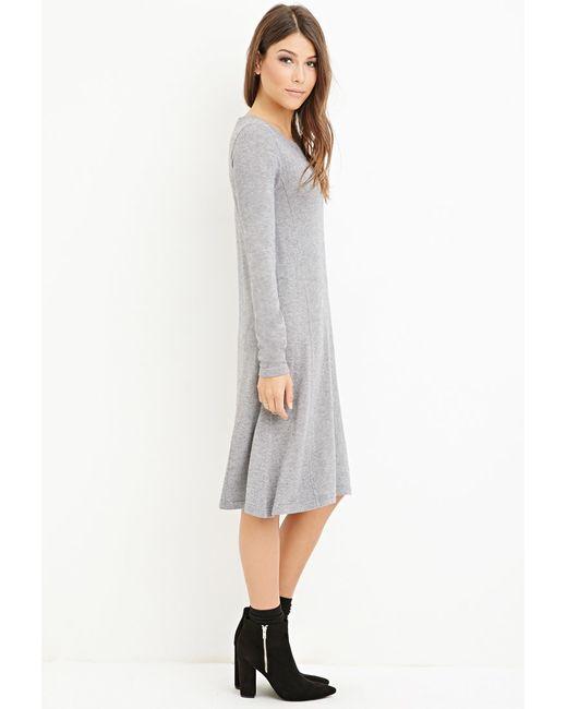 Forever 21 | Gray Heathered Midi Dress | Lyst